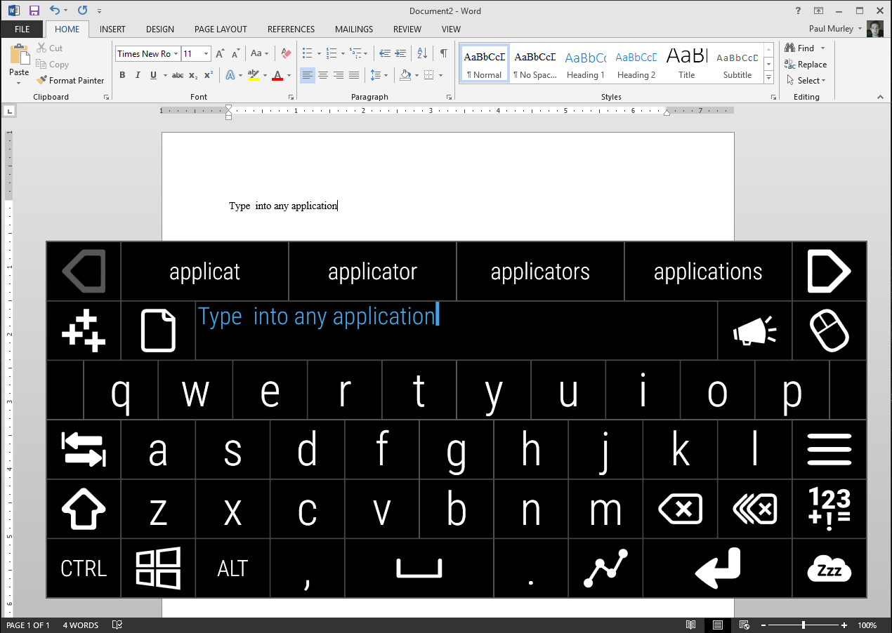Screenshot showing user typing a sentence into Word